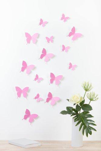 "Bilderdepot24 ""Schmetterlinge in 3D Style"" - ROSA - 15 Stück im Set inkl. Klebepunkte - Qualitätsware 100% Made in Germany!"