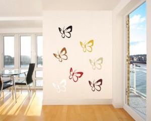Wandtattoo 7x große bunte Schmetterlinge Wandgestaltung Nr. 175 (Größe 18 x 18cm)