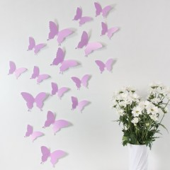 """Wandkings """"Schmetterlinge im 3D-Style"""" in FLIEDER zur Wanddekoration, 12 STÜCK im Set mit Klebepunkten zur Fixierung"""