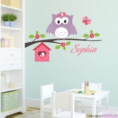 Wandtattoo Happy Eule mit Wunschname-Ast-Blumen-Vogelhaus-Schmetterling 60x39 cm
