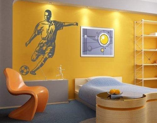 Wandtattoo Fußball-Stürmer ( Größe: 120cm x 124cm - Farbe: weiß ) Motiv-Nr: 2032