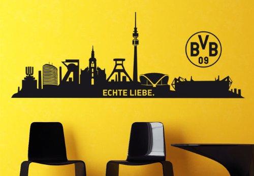 """Borussia Dortmund Wandtattoo Skyline """"Echte Liebe"""" (120 x 44 cm)"""
