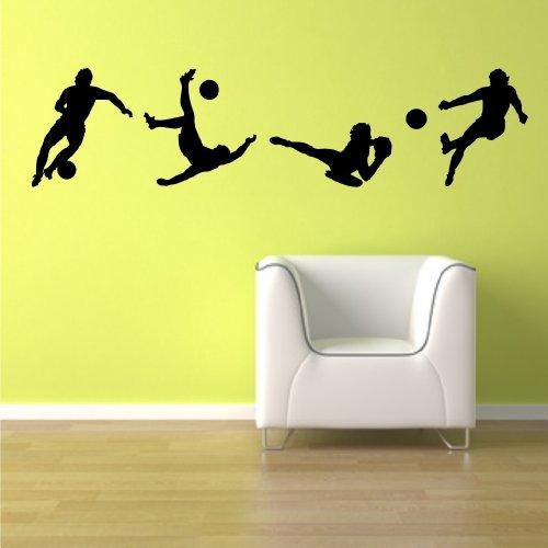 4 Fußballer Sihouletten Größe - XL - 150 cm x 36 cm - ! Beschreibung beachten ! - SCHWARZ