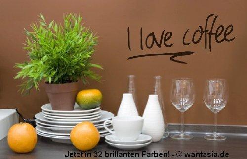 Wandtattoo für die Küche Text / Sprüche - I love Coffee - Kaffee mit Herz 29x13 cm, schwarz, 620082 Wandaufkleber Wandtatoos Sticker Aufkleber für die Wand, Fensterbild, Tapete, Fliesen, Autoaufkleber, Türaufkleber