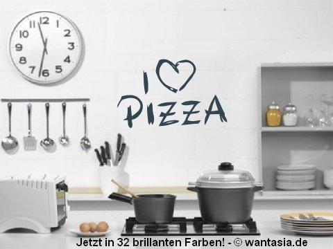 Wandtattoo Küche, I LOVE PIZZA 29x18 cm, schwarz, 620098 Wandaufkleber Wandtatoos Sticker Aufkleber für die Wand, Fensterbild, Tapete, Fliesen, Autoaufkleber, Türaufkleber