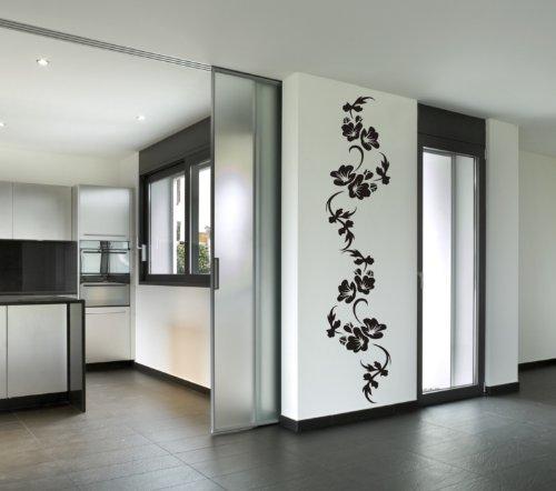 WANDTATTOO BLUMENRANKE BLUME PFLANZE HIBISKUS WANDAUFKLEBER WANDSTICKER WALLPRINT (Größe 175 x 37 cm) Nr.140