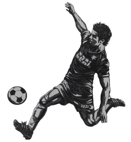 2 tlg. Set XL Wandtattoo / Fensterbild / Sticker - Fußballer Ball Fußball - Wandsticker Aufkleber