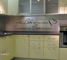 Wandtattoo Spruch Wo die Liebe den Tisch deckt... für die Küche 113x30cm Weiss