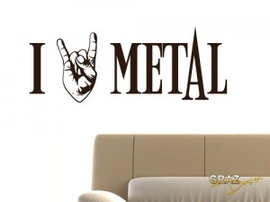 Wandtattoo Wandaufkleber I love Metal Ich liebe Metal mit Rocker Hand 77x30cm Kupfer