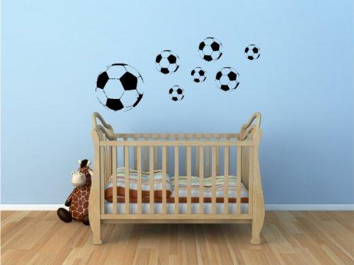Wandtattoo Fussball Fußbälle 7er Set - Wandaufkleber Kinderzimmer - original Stickerkoenig-verschiedene Farben wählbar