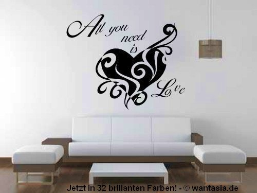wandtattoo schlafzimmer herz und text all you need is love. Black Bedroom Furniture Sets. Home Design Ideas