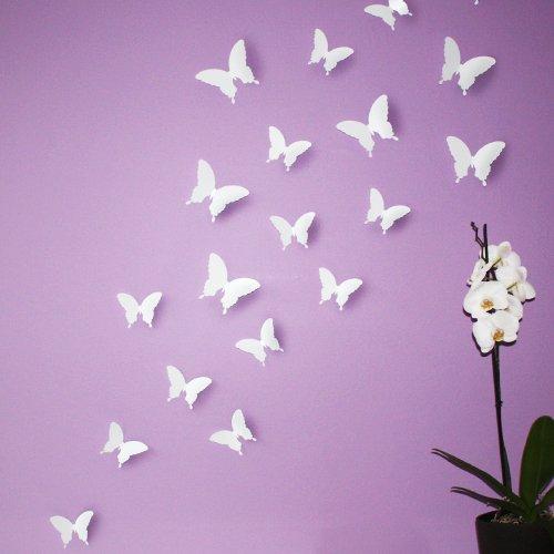 """Wandkings """"Schmetterlinge im 3D-Style"""" in WEIß zur Wanddekoration, 12 STÜCK im Set mit Klebepunkten zur Fixierung"""
