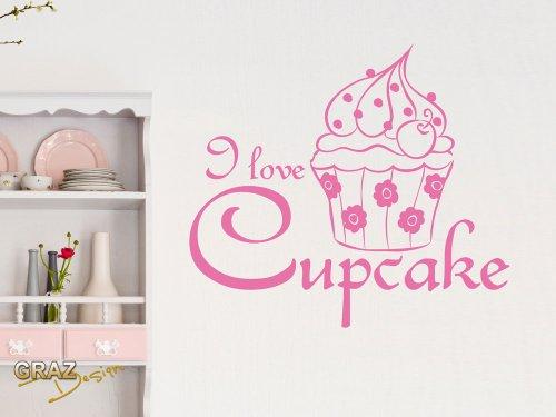 Wandtattoo Küche Cupcake Spruch I love Cupcake Wandaufkleber Essen (Größe=56x50cm//Farbe=Hellrosa)