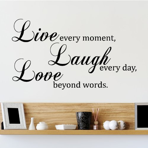 Live Laugh Love Quote Wandtattoo / Aufkleber - Schwarz - W101 x H57