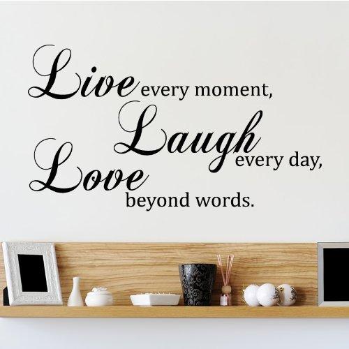 Live Laugh Love Quote Wandtattoo / Aufkleber - Schwarz - W101 x H57