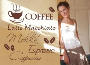 Wandtattoo Kaffee Nr.123 Wandaufkleber Wandmotiv (Größe: 67cm x 59cm)