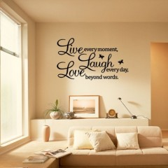 Ecloud Shop 3 pieces LIVE LAUGH LOVE Wandtattoo Wandaufkleber Wandsticker Wandbilder Deko. PVC