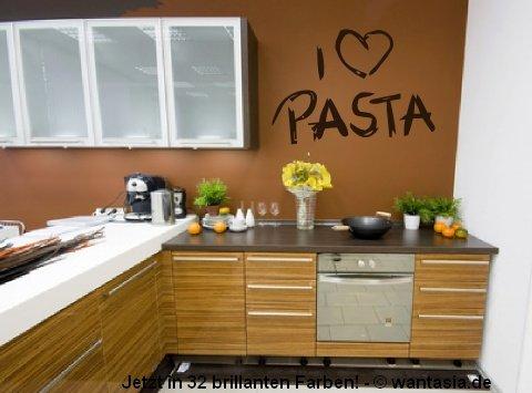 Wandtattoo Text - I Love Pasta- Nudeln mit Herz für die Küche 29x20 cm, schwarz, 620099- Wandaufkleber Wandtatoos Sticker Aufkleber für die Wand, Fensterbild
