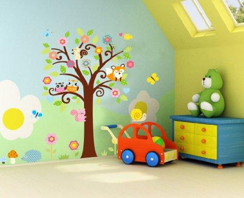 WallStickersDecal Dschungel Wald Eule, Eichhörnchen Fox & Gesang auf bunten Baum Wandtattoos für Kinderzimmer