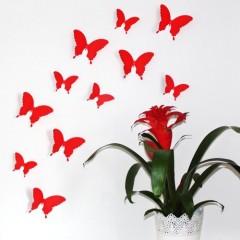 """Wandkings """"Schmetterlinge im 3D-Style"""" in ROT zur Wanddekoration, 12 STÜCK im Set mit Klebepunkten zur Fixierung"""