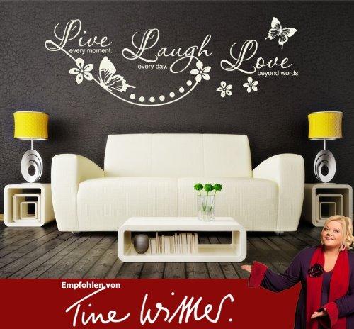 Klebefieber 2725 Wandtattoo Live Laugh Love B x H: 100cm x 35cm Farbe: türkisblau (erhältlich in 35 Farben und vielen Größen)