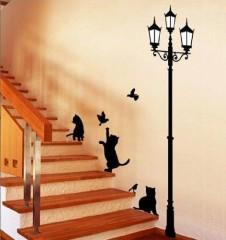 Fixpix, WDS-09, Schwarze Katzen und Straße Licht Wandaufkleber, Home Art Deko-Wandsticker / Wandtattoo / Wand Transfers / Wandtattoos / Wandtattoo