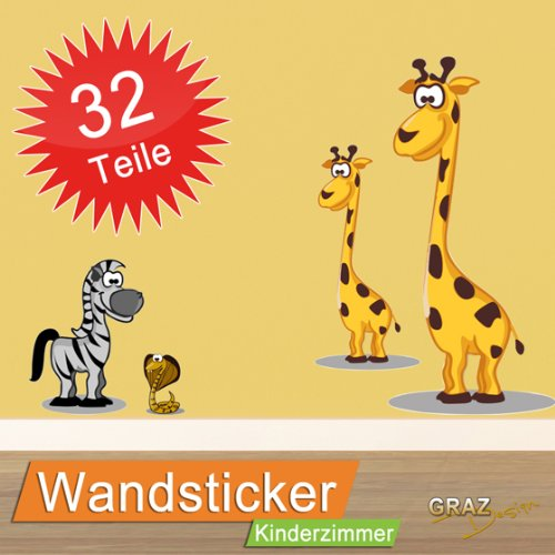 Wandsticker Wandtattoo Kinderzimmer Zoo Set 32 Teile