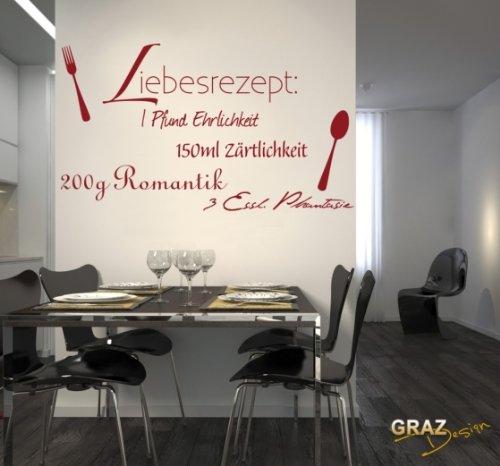 Wandtattoo Spruch Zitat, Liebesrezept für die Küche. 100x57cm Schwarz