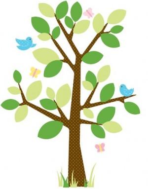 RoomMates RMK1319GM Raumdekor gepunkteter Baum