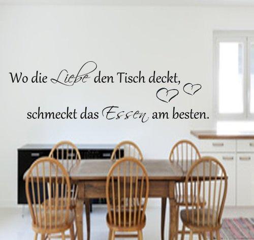 Wo die Liebe den Tisch deckt,schmeckt das Essen am besten.100cm x 45cm Küche Wandtattoo exclusiv Größe Küche in 21 Farbe auswählbar