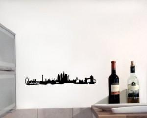 Wandtattoo London Skyline Wandaufkleber schwarz 30x6cm