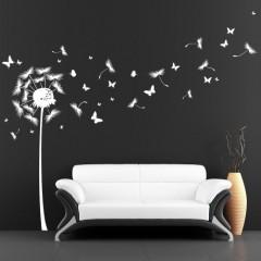 Wandtattoo: Pusteblume mit vielen Schmetterlingen / weiß / 120 x 198 cm