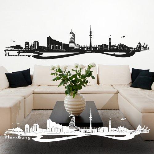 """Wandkings Wandtattoo """"Skyline Hamburg (mit Sehenswürdigkeiten und Wahrzeichen der Stadt)"""" 120 x 28 cm schwarz - erhältlich in 33 Farben"""