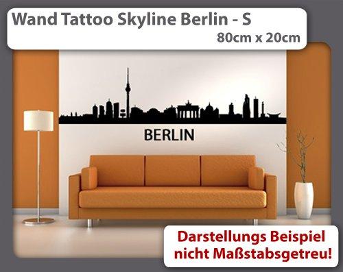 Wandtattoo Skyline Berlin S - 80cm x 20cm - Duvar Tattoo - 24 mögliche Farben