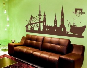 Wandtattoo Hamburg-Skyline ( Größe: 120cm x 58cm - Farbe: schwarz ) Motiv-Nr: 1334