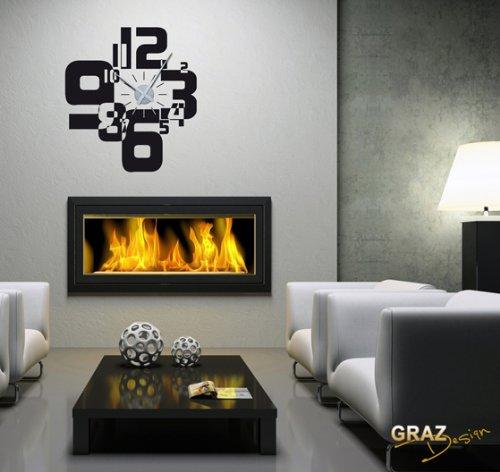 Wandtattoo Uhr Wanduhr Moderner Zahlenmix   Wohnzimmer (Uhr  Silber/Aufkleber Schwarz)