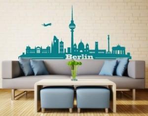 Wandtattoo Skyline Berlin ( Größe: 150cm x 69cm - Farbe: schwarz ) Motiv-Nr: 2459