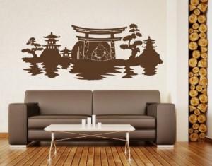 Wandtattoo Skyline Buddha ( Größe: 80cm x 32cm - Farbe: grau ) Motiv-Nr: 3725