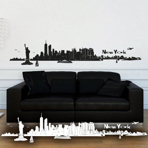 """Wandkings Wandtattoo """"Skyline New York (mit Sehenswürdigkeiten und Wahrzeichen der Stadt)"""" 100 x 20 cm schwarz - erhältlich in 33 Farben"""