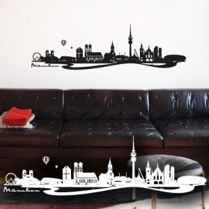 """Wandkings Wandtattoo """"Skyline München (mit Sehenswürdigkeiten und Wahrzeichen der Stadt)"""" 115 x 35 cm schwarz - erhältlich in 33 Farben"""