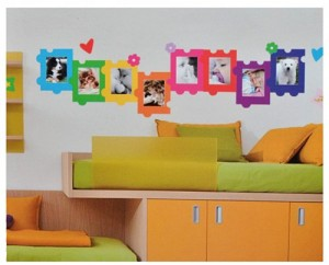 XXL Wandtattoo / Sticker - Fotorahmen als Puzzle Herzen Blumen für Bilder - selbstklebend Wandsticker Aufkleber