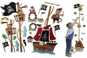 XL - 3-D Meßlatte Pirat Wandtattoo selbstklebend mit 4 extra Stickern - Junge