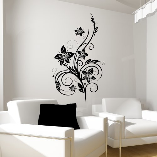 wandtattoo wandaufkleber sticker hibiskusranke schwarz. Black Bedroom Furniture Sets. Home Design Ideas
