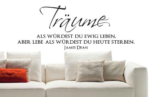 """Wandtattoo W401 """"Träume als würdest... - James Dean - Wohnzimmer (73x28 cm) schwarz"""