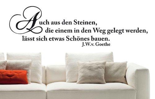 """Wandtattoo W292 """"Auch aus Steinen..."""" - Goethe - Flur (95x28 cm) schwarz"""