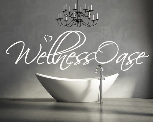 wandtattoo f r ihr badezimmer wohnzimmer bad 68045 58x15 cm schriftzug wellness oase. Black Bedroom Furniture Sets. Home Design Ideas