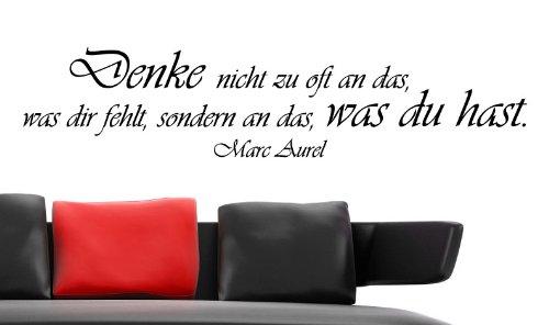 """Wandtattoo """"Denke nicht zu oft..."""" W63 (124x27 cm) schwarz"""