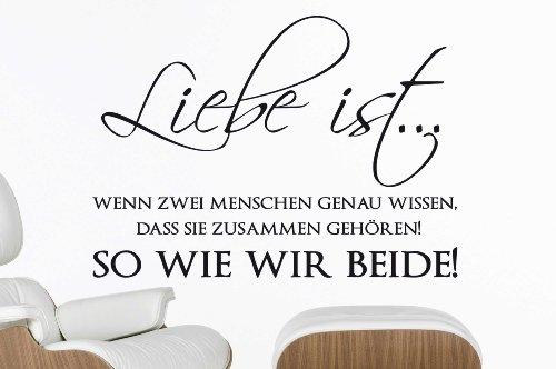 """Wandtattoo W530 """"Liebe ist... wenn zwei Menschen genau wissen...!"""" - Schlafzimmer (81x58 cm) schwarz"""