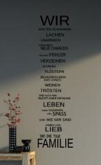 WIR sind eine Familie... - Spruch - Wandtattoo Aufkleber 92x24cm B323-V (schwarz)