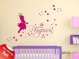 Wandtattoo Set Kinderzimmer Mädchen Sterne Spruch kleine Prinzessin 100x57cm Pink